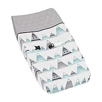 Navy Blue Aqua and Grey Aztec Changing Pad Cover for Mountains Collection by Sweet Jojo Designs