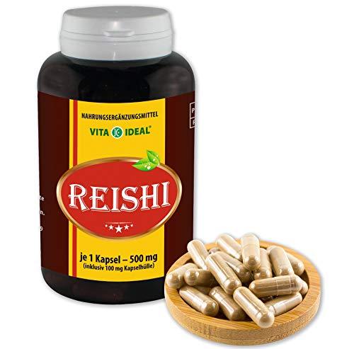 VITAIDEAL ® Reishi Pilz Extrakt (Ling-Zhi, Ganoderma lucidum) 360 Kapseln je 500mg, aus rein natürlichen Pilz Extrakten, ohne Zusatzstoffe von NEZ-Diskounter