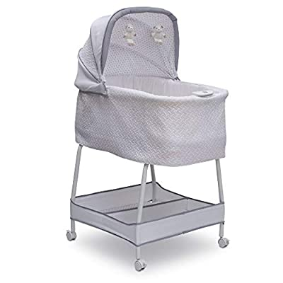 Simmons Kids Elite Hands-Free Auto-Glide Bedside Bassinet - Portable Crib Features Silent, Smooth Gliding Motion That Soothes Baby, Basketweave
