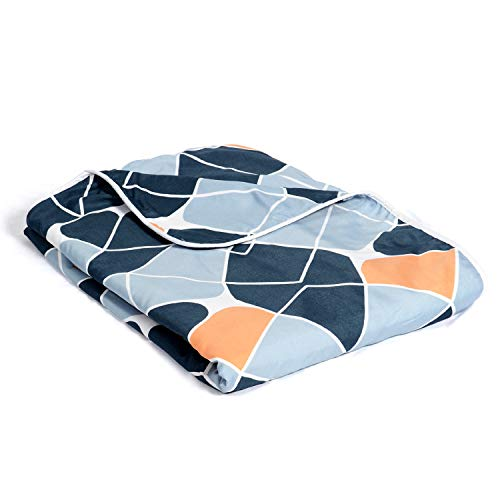 Divine Casa 120 GSM Soft Polyester Geometric Reversible Single AC Dohar, Blanket Single Bed, Navy Blue (145 x 210 Inch)