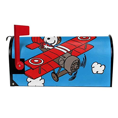 KSSxEDC Magnetische Briefkasten-Abdeckung für Flugzeug Snoopy Briefkasten-Abdeckung für Garten Hof, Heimdekoration für den Außenbereich 25.5x21 in weiß