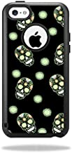MightySkins Protective Vinyl Skin Decal Compatible with OtterBox Commuter iPhone 5C Case wrap Cover Sticker Skins Glowing Skulls