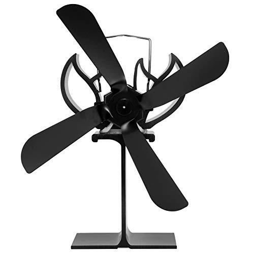 Ventilador de 4 aspas Accesorio de ventilador portátil de aleación de aluminio para la distribución de calor de la estufa de la chimenea