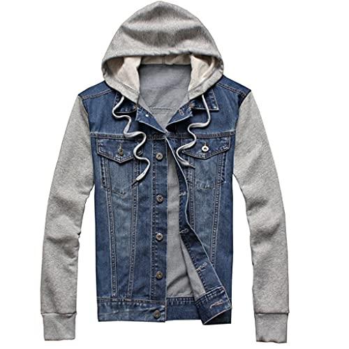 EEKLSJ Denim Jacket Men Hooded Hip-Hop Jeans Jackets Hoodies Loose Cowboy Mens (Color : A, Size : L)