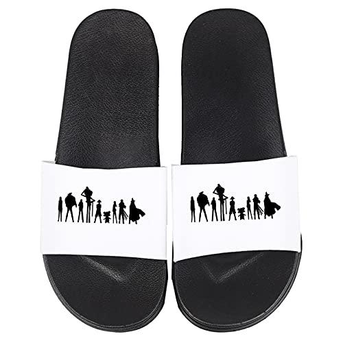 Sandalias de ducha Chanclas de Baño para mujer y hombre Zapatillas de playa para piscina Deslizador de diapositivas de inicio para Cosplay Anime japonés Equipo de ONE PIECE Zapatos,Blanco,37/38EU