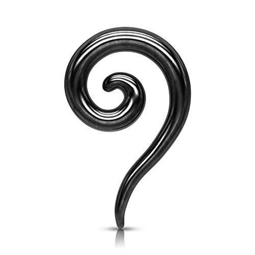beyoutifulthings Dehn-Spirale Lang Edelstahl Taper Schwarz Dehnanhänger Dehnungs-Schnecke Dehnungs-Sichel Ohr-Piercing Ohr-Schmuck 8mm