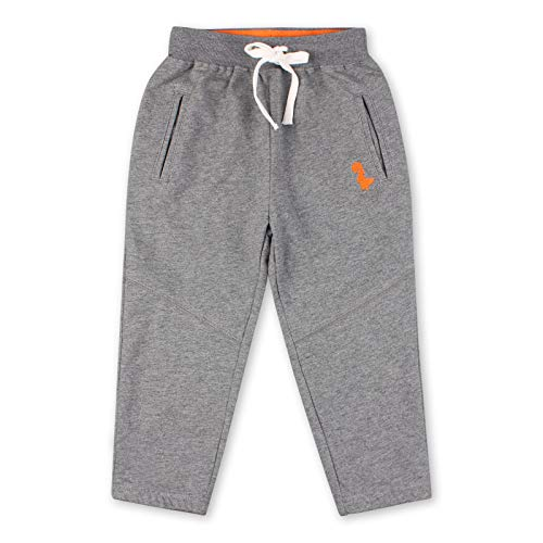 Peecabe Children Boys Joggers Pants Adjustable Waist Baby Kids Pants Cotton Embroidery Sweatpants with Drawstring 3-8Years (130(6-7Y), Gray)