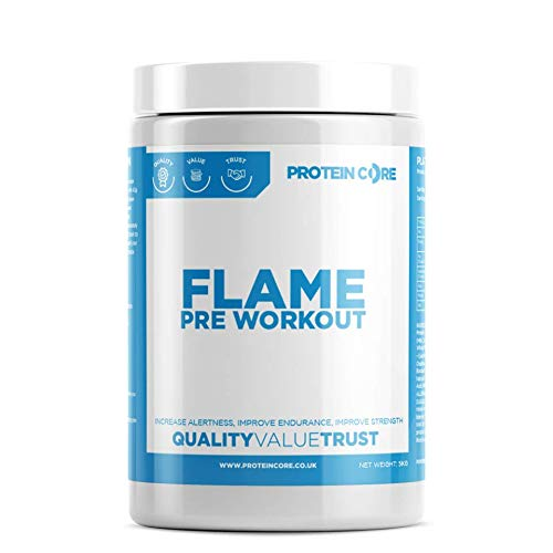Flame Pre Workout Powder 250G Shake Drink - Supplement - Energy Strength Power - Build Muscle - Caffeine - Beta Alanine - Leucine - Protein Core (Blackcurrant)