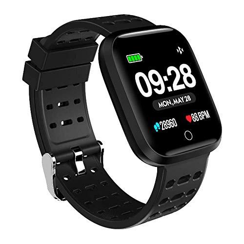Azorex SmartWatch Multifunción Reloj Inteligente Redondo Impermeable IP67, Pulsera Actividad Control Remoto Correa Silicona Negro Q88