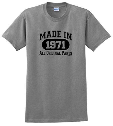 50th Birthday Gift Made 1971 All Original Parts T-Shirt 2XL Sport Grey
