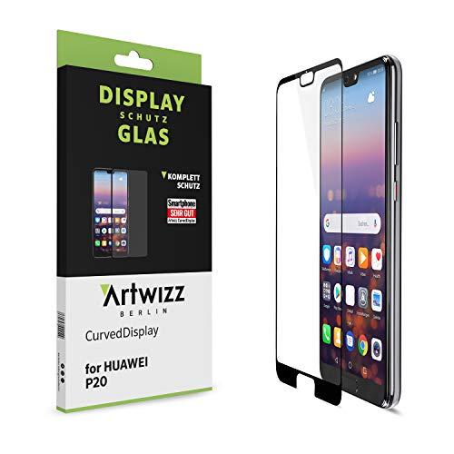 Artwizz 9336-2268 CurvedDisplay Sicherheitsglas für Huawei P20 - vollflächiger Displayschutz mit Anti-Splitterschutz - Bildschirmschutz H9 Designed in Berlin