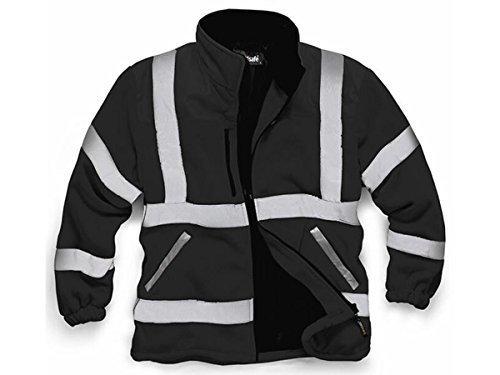 StandSafe Mens Premium Safety Hi Vis Viz Visibility Lined Work Full Zip Fleece Jacket S Black