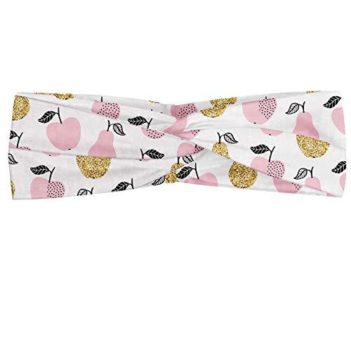 ABAKUHAUS Art fruit Bandeau, Motif avec Répétitif Pommes et poires Résumé, Serre-tête Féminin Élastique et Doux pour Sport et pour Usage Quotidien, Rose gris anthracite