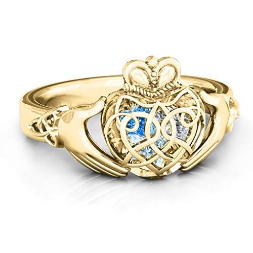 TSD 14K Yellow Gold Caged Hearts Celtic Claddagh Ring by JEWLR