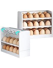 HAPPYMATY Caja de huevos de 3 capas, para frigorífico, huevera organizadora de huevos