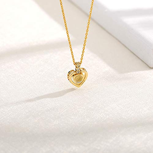 Tianziwen Necklace for fashionable ladies in hundreds of languages I love you, beloved pendant projection, the best gift for couples to wives
