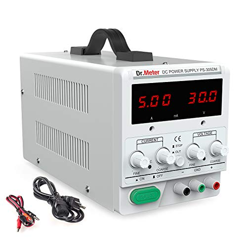 Dr.meter 30V/5A Variable Linear DC Bench Power Supply Single-Output 110V/220V Switching with Alligator Leads Included, US 3-Prong Cable,PS305DM for Lab Equipment