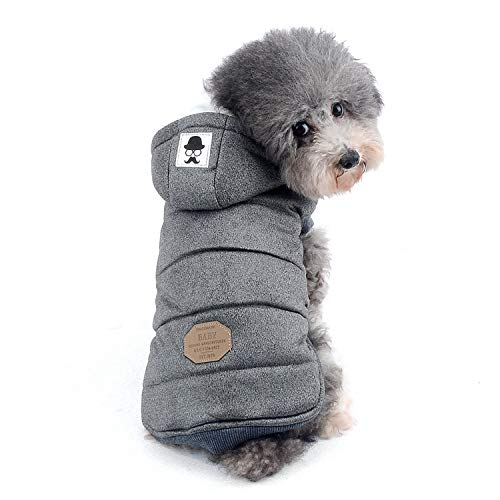 Zunea Kleine Hundeweste, hundemantel, Fleecemantel, Welpenmantel, Wintermantel für Hunde, Kapuzenmantel, Winddicht, weich (fällt klein aus, Bitte eine Größe größer bestellen) grau S
