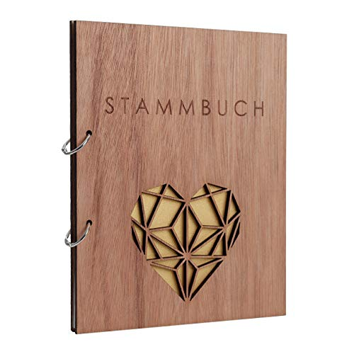 Hochzeitideal Stammbuch der Familie Familienstammbuch Holzcover inkl. Lasergravur (Serie Geometric)