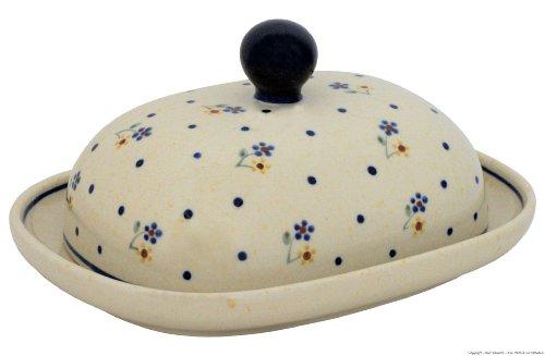Original Bunzlauer Butterdose oval für 1 Stück Butter (250 Gramm) im Dekor 111
