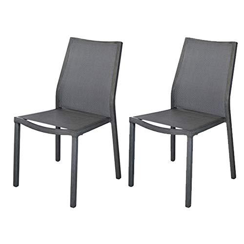 Proloisirs Chaises en Aluminium brossé Ida (Lot de 2)