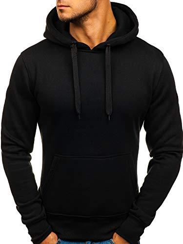 BOLF Herren Kapuzenpullover Sweatjacke Hoodie Sweatshirt mit Kapuze Farbvarianten Kapuzenpulli Freizeit Training Gym Fitness J.Style 2009 Schwarz XL [1A1]