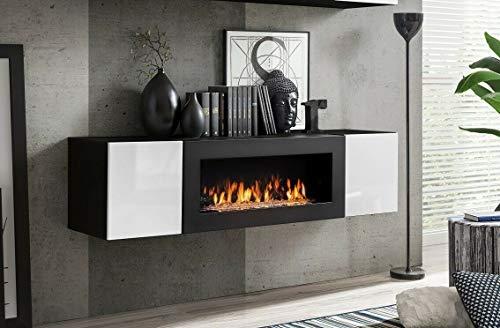 Moderner Kaminschrank Schrank mit Bio Kamin Hochglanz Fronten mit Türen 21 (Schwarz+Weiß)