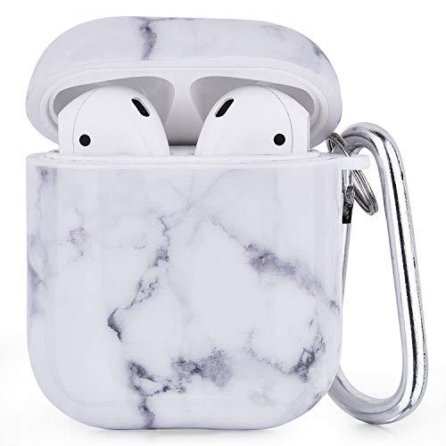 V-MORO Airpods Hülle Kompatibel mit Apple Air Pod 1&2 Case Hülle Marmor Stoßfeste Schutzhülle [Unterstützt kabelloses Laden](White/Gray)