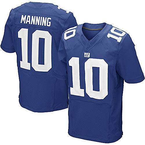 #10 Herren American Football Jersey Giants Manning, Herren Rugby-Trikot American Football Jersey Kurzarm Sport Top T-Shirt Jersey, 123, blau, XL(185~190)