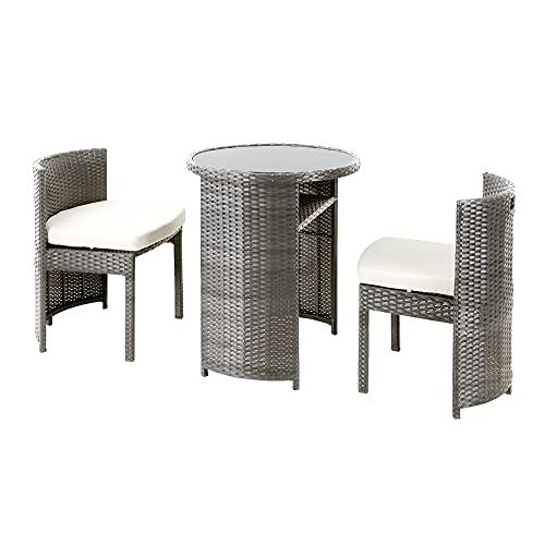 コンパクトテーブル3点セット【グレー】バルコニー ガーデンテーブルセット(テーブル×1 チェアー×2)