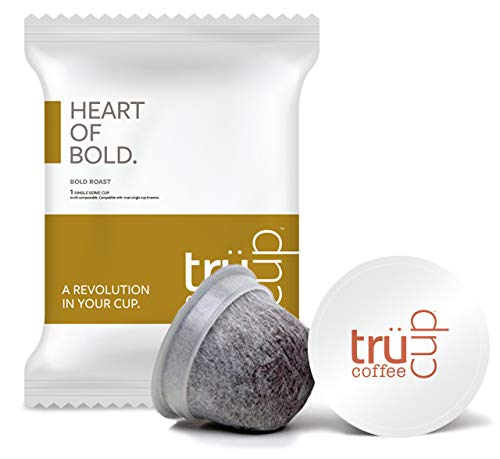 trücup Low Acid Coffee- Heart of Bold Medium Dark Roast- Biodegradable 48 Count Coffee Pods- Smooth Vienna Coffee- Can Be Gentle on the Stomach