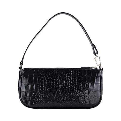 Rachel| Back to 90's Fashion Shoulder Bag,Baguette Bag, Croc-effect Leather
