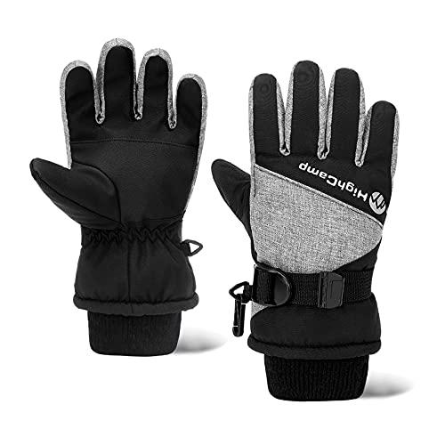 HIGHCAMP Kids Boy Waterproof Winter Snow Ski Snowboard Gloves with Reflector-M