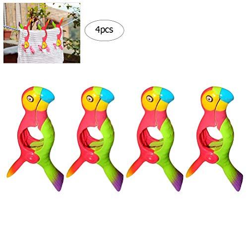 Macabolo 4-pack papegaai vorm strand handdoek clips vogel handdoek clips grote kunststof winddichte kleding hangen Peg quilt klem houder