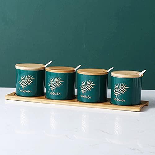 Tarro de condimento de cerámica Juego de 4 tarros de especias de 260 ml Recipientes de almacenamiento de especias de cerámica con tapas de madera, bandeja y cuchara Tarro de condimento de cocina