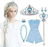 Vicloon 9Pcs Upgrade Princesa Vestir Accesorios - Peluca/Corona/Sceptre/Anillo /Pendientes/Collar/Gu...