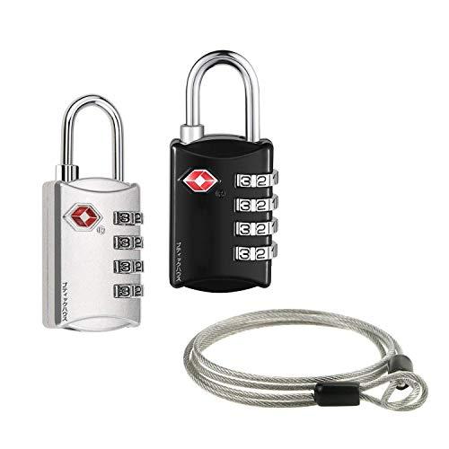 2個セットTSAロック 南京錠4桁ダイヤルロック+ワイヤー 4桁式TSAロック南京錠とワイヤーパーツのセット ワイヤーロックになる 海外旅行用品 トラベルグッズ セキュリティ (ブラック+シルバー)
