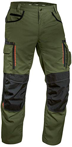 Uvex Tune-up 8909 Pantalones de Trabajo con Cordura Resistente a la Abrasión   con Rodilleras   con Muchos Bolsillos Laterales   de Color Verde   Tamaño 42