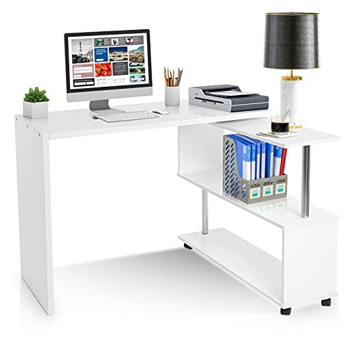 Escritorio en forma de L para ordenador o portátil, de madera, de esquina, gran mesa de estudio, estación de trabajo con 4 ruedas y estantes de libro, para oficina en casa