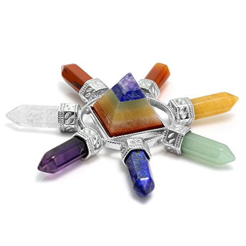 CrystalTears 7 Chakras Générateur d'Énergie Pyramide Prisme Pierre Colonne Hexagonale Cristal de Roche Guérison Décoration Reiki