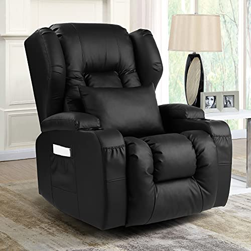URRED Nursery Rocking Chair Glider, Swivel Rocker Recliner Chairs, Glider Rocker Nursery Recliner with Cup Holders, Side Pockets, Manual Recliner, Faux Leather (Black)