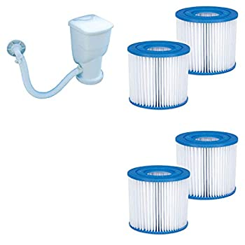 Summer Waves 600 Gallon SkimmerPlus Swimming Pool Filter Pump and 4-Pack of Replacement Type D Filter Cartridges