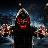 Mascaras Halloween, 3 modos de iluminación Mascara LED Halloween, Halloween Disfraz, Purga Mascara adecuada para cosplay, festivales, fiestas (negro)