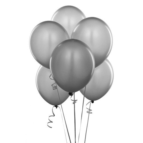 Homeford Premium Latex Balloons Plain Color, 12-Inch, 12-Count (Silver)