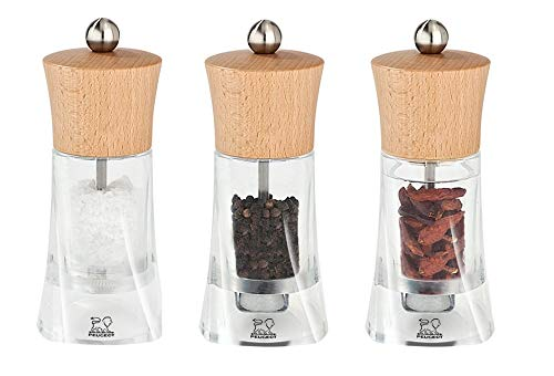 Peugeot Oleron Collection Salt, Pepper and Chilli Pepper Mill 14cm/5.5 in Set, Acrylic/Wood Natural