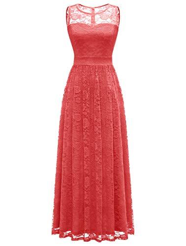 Wedtrend Robe de Soirée Cocktail Longue Femme Élégant pour Mariage Cérémonie en DentelleEWTL10007 B-Coral XL