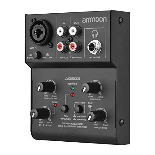ammoon 3 Canales Mini Mezclador, Consola de Mezcla USB, Mezclador con Interfaz de Audio, Plug-and-Play, para Grabación de Estudio, Transmisión, Karaoke, etc.