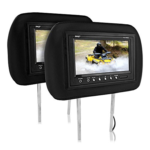 Dual Universal Vehicle Headrest Monitor - 7in Adjustable Car Mount Multimedia Entertainment Display Screens for DVD Player and Video Games with Wireless IR Transmitter for Headphones - Pyle PL71PHB
