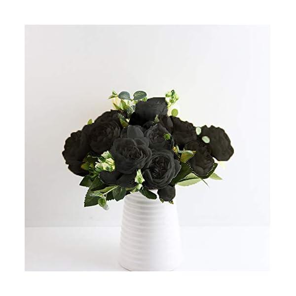 QAQGEAR Peonía Artificial Seda Flores Falsas Boda Vintage Decoración del hogar, Colección Flores de Tela Pomo de Seda…