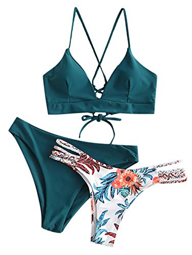 ZAFUL Damen Floral Geflochten Gitter Three Pieces Bikini Set (Dunkelgrün, M)